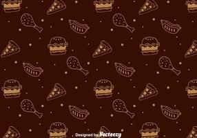 Handgetekend Fast Food Pattern vector