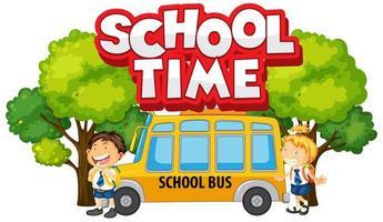 gelukkige kinderen naast schoolbus vector