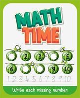 wiskunde tijd werkblad vector