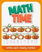 wiskunde werkbladsjabloon vector