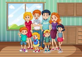 blijf thuis met het gezin vector