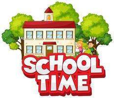word schooltijd met gelukkige kinderen vector