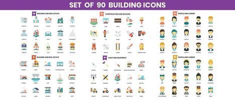 bouw en constructie pictogrammen instellen voor het bedrijfsleven vector