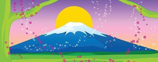 Fuji berg en sakura op zonsondergang