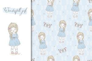 kaart van het meisje en naadloze blauwe bloemen achtergrond