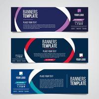 abstracte horizontale zakelijke banner geometrische vormen web ontwerpset vector