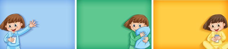 drie achtergronden met meisje in pyjama vector