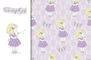 klein meisje met paardebloem op paarse bloemen achtergrond