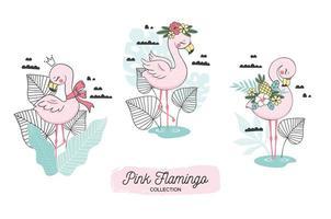 flamingo op tropische achtergrondkroon en bloemenelementen