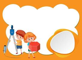 achtergrond ontwerpsjabloon met twee gelukkige kinderen vector