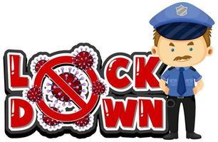 coronavirus posterontwerp voor vergrendeling met politieagent vector