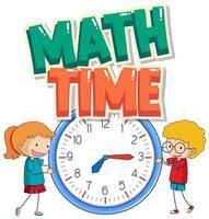 stickerontwerp voor wiskundetijd met kinderen en grote klok vector