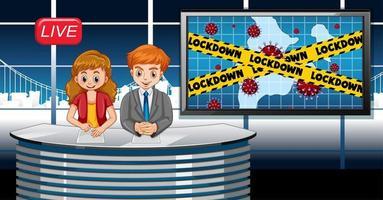 coronavirus posterontwerp met nieuwsverslaggever live in studio vector