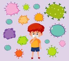 zieke jongen met dodelijk virus om hem heen