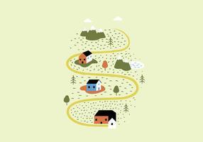 Landschap Huizen Illustratie vector