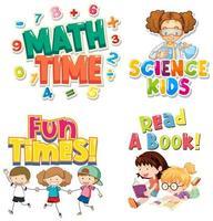 lettertype ontwerp voor school met kinderen op achtergrond vector