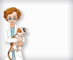 achtergrond sjabloonontwerp met gelukkige dierenarts en kat