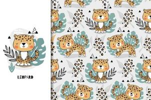 Luipaard schattige jungle baby dier karakter en patroon vector