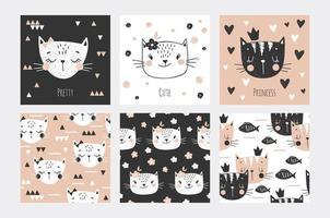 kat gezichten kaarten en naadloze achtergrond collectie