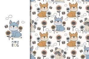 hond en bloemenontwerp en naadloos patroon vector