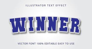 winnaar blauw, wit teksteffect