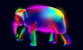 levendige, gloeiende, verlichte, neon kleurrijke olifant