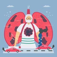 luchtverontreiniging en roken die de longen aantasten