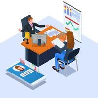 vrouwen die documenten geven en worden geïnterviewd door bedrijfseigenaren