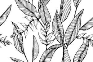 naadloze patroon met hand getrokken heliconia bloem en bladeren vector