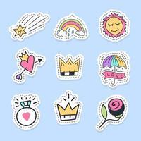 set van schattige doodle en liefde stickers
