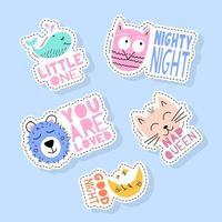 set van schattige dieren stickers