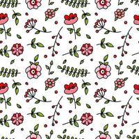 schattig rood en roze bloemen naadloos patroon