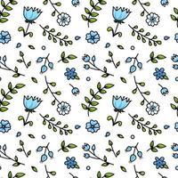 mooie blauwe bloem cartoon naadloze patroon