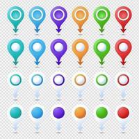 kleurrijke geïsoleerde cirkel en pijl locatie pin set vector