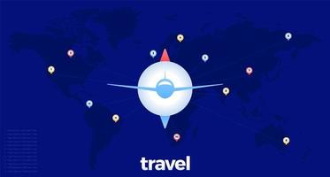vliegtuig over wereldkaart met stippellijnen en kaartspelden