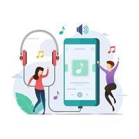 mensen luisteren en dansen op de app voor muziekspelers vector