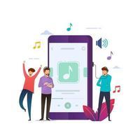 kleine mensen die naar mobiele muziek luisteren vector