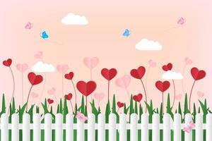 vlinder vliegt over witte hek met papieren harten vector