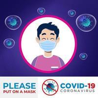 man met coronaviras bescherming masker poster