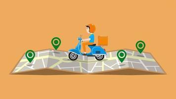 bezorger op scooter rijden op kaart met pinnen vector