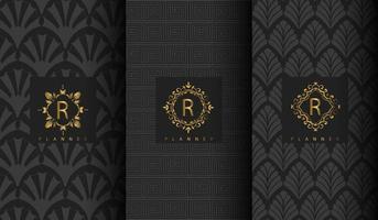 donkergrijs luxe patroon set vector