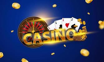 casino poster met roulettewiel, azen en munten vector