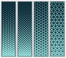 halftoon kubus, driehoek, diamant en zeshoek patroon set