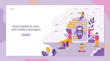 platte slimme chatbot om met mobiele boodschappers te werken vector