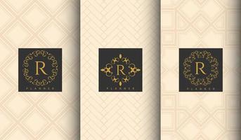 set van luxe beige patroon sjabloon vector