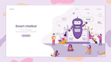 slimme chatbot verwelkomt klant vector