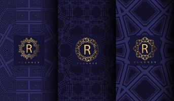 luxe blauwe patroon set vector