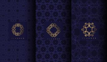 set van luxe blauwe patronen met geometrische gouden ornamenten vector
