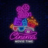 helder neon bioscoopbord met filmcamera vector