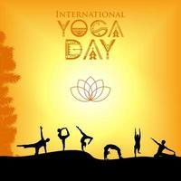 internationale yoga dag poster met silhouetten poseren vector